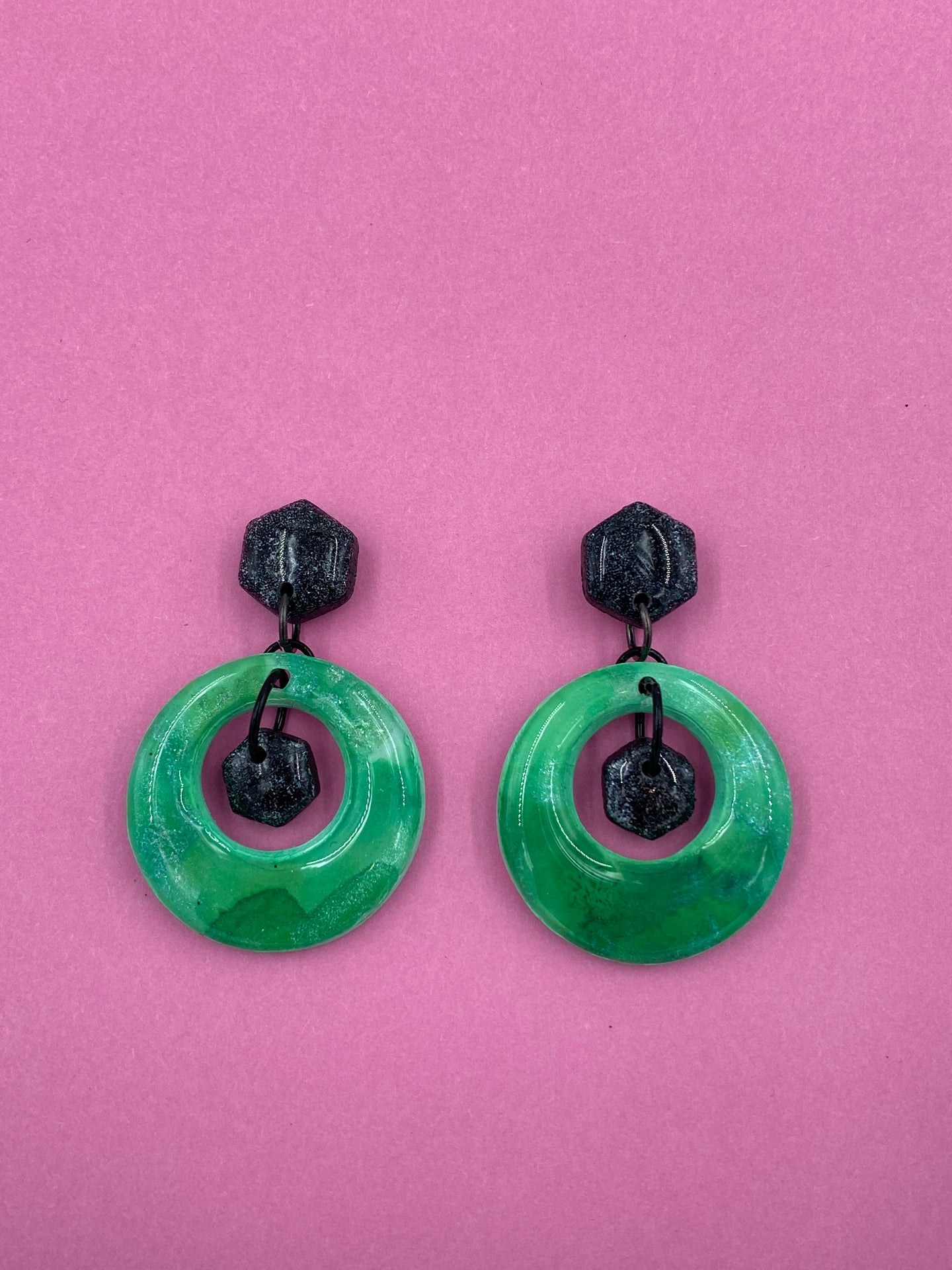 Euphoria - Hoops with Hexagons Small Dangle