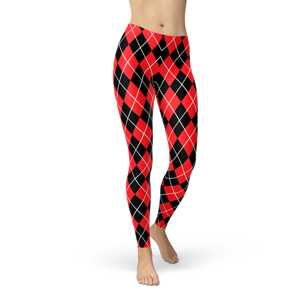 Harley Quinn Inspired Red Argyle Leggings