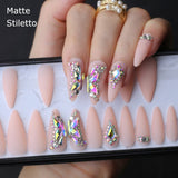 Butterfly Crystal Luxury Coffin nude Nail Kit