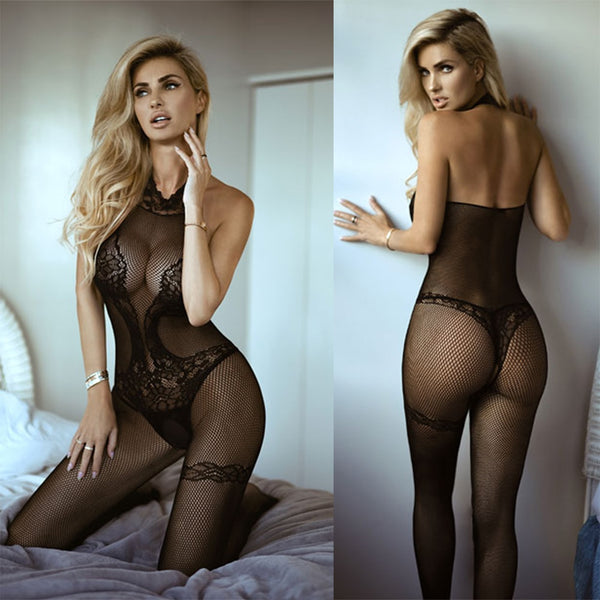 High Neck Halter Crotchless Fishnet Stockings