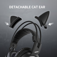 Catwoman Gamer Black Cat Ear Headset