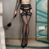 Sexy Stocking Lace Soft Top Thigh High Stockings +  Garter Belt