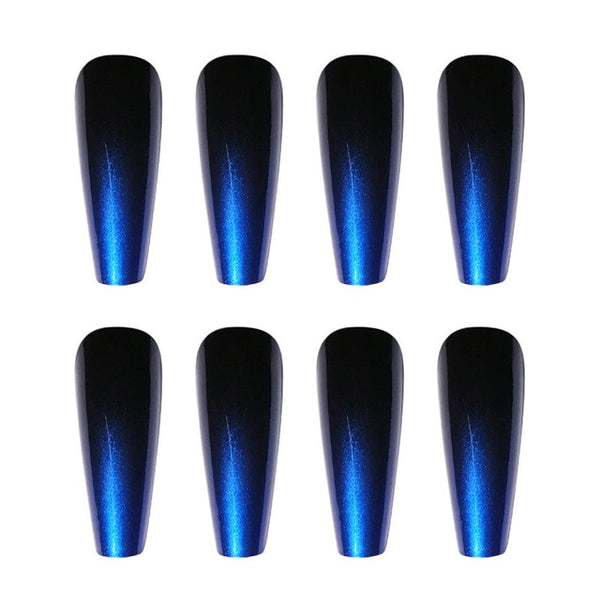 24pcs Dark Winter Blue Long Square Tip Nail Kit