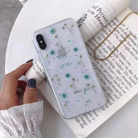 Dry Flower Glitter Clear Case For iPhone