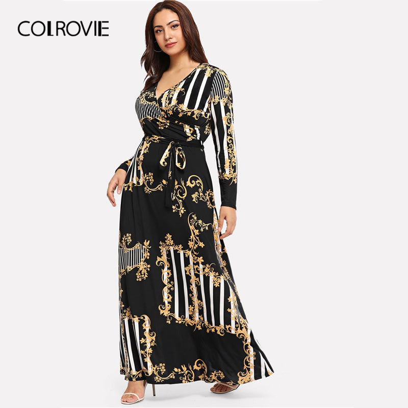 Colrovie Plus Size Black Mixed Print Striped Casual Dress Women 2019 S Trusthshop