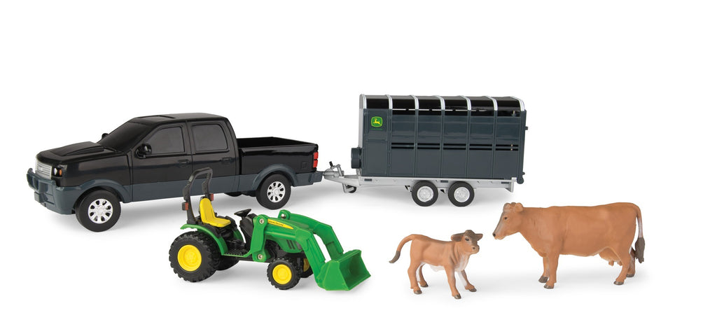 JOHN DEERE 1:32 PICKUP & LIVESTOCK TRAILER SET BLACK