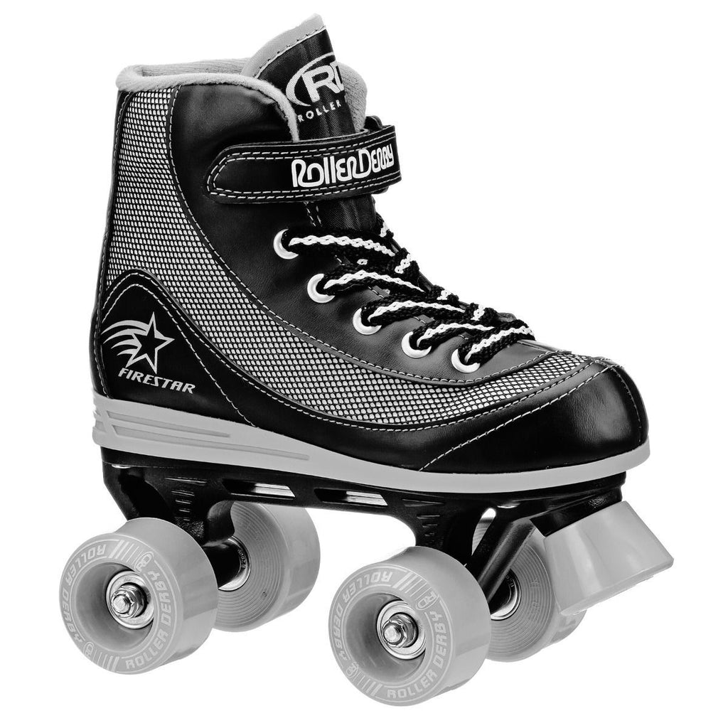 ROLLER DERBY FIRESTAR BLACK/GREY SKATES SIZE 1