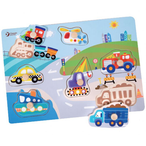 Classic World Traffic Puzzle with Knobs - Toyworld
