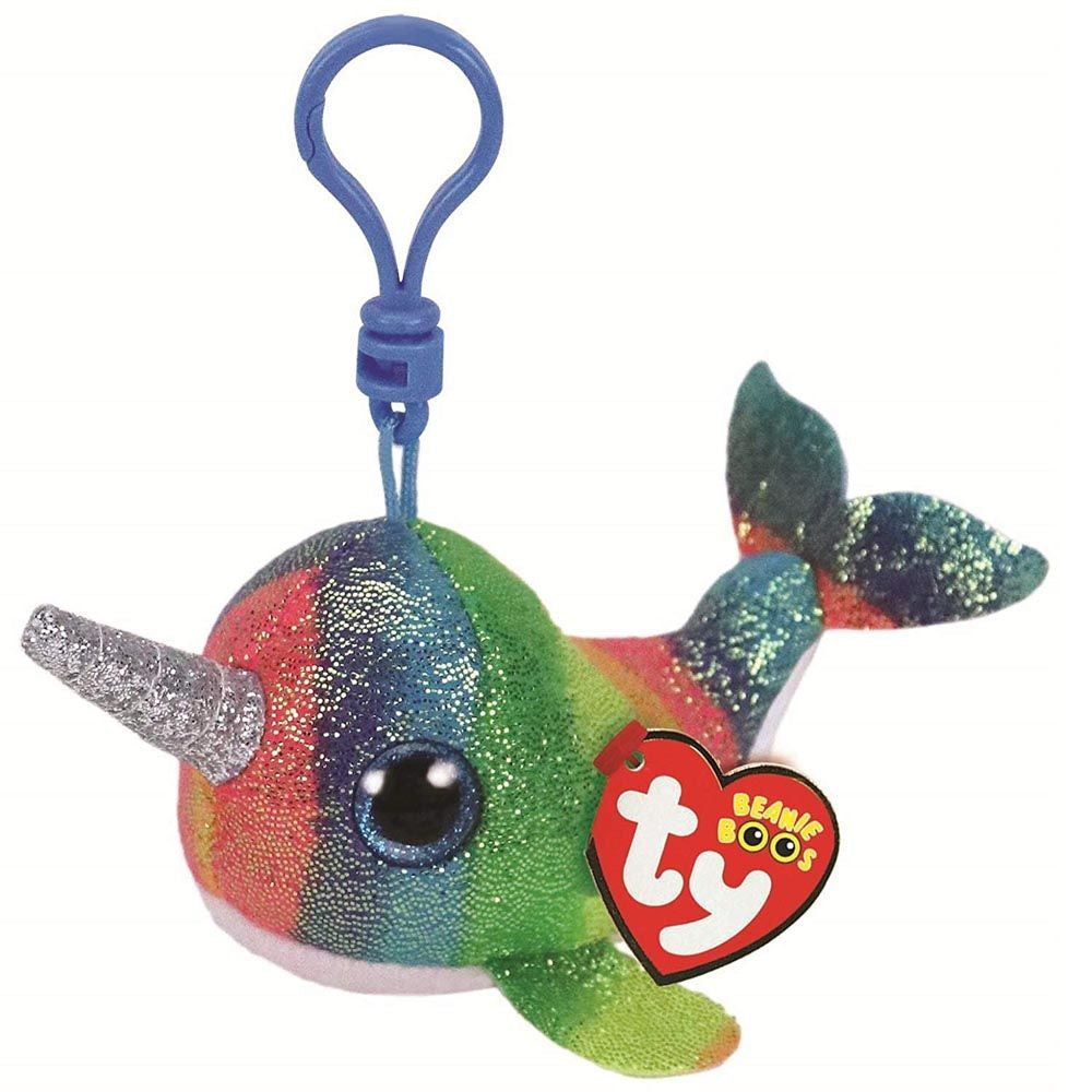 TY BEANIE BOOS CLIP ON NORI THE MULTICOLOURED NARWHAL - Toyworld NZ