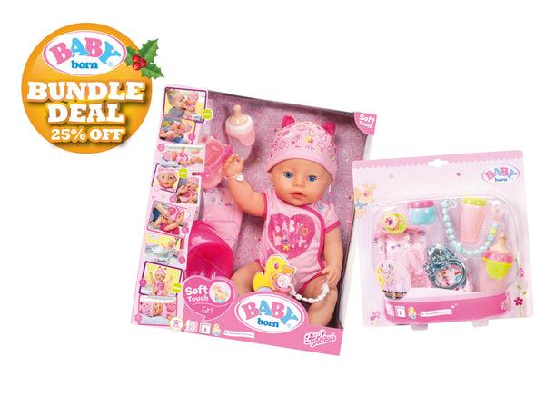 Baby Born Bundle Soft Touch Girl Doll + Starter Set - Toyworld