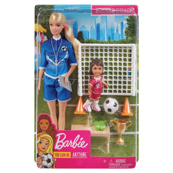 Barbie Soocer Coach Doll and Accessories Blonde - Toyworld