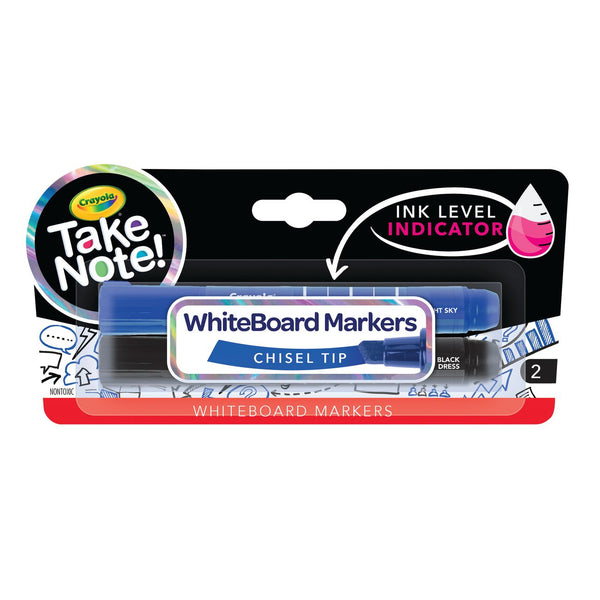 CRAYOLA TAKE NOTE! CHISEL TIP WHITEBOARD MARKERS 2 PACK