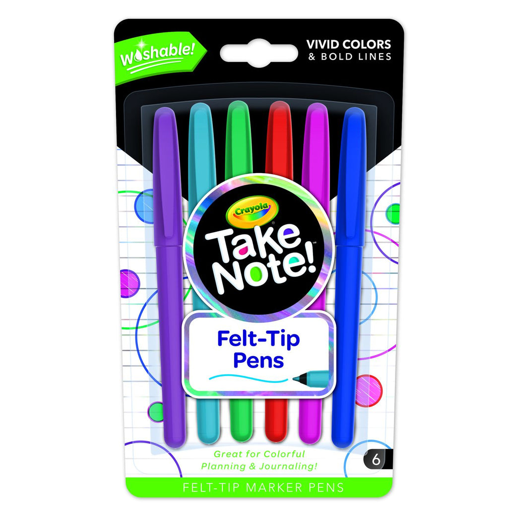 CRAYOLA TAKE NOTE! WASHABLE FELT-TIP MARKER PENS 6 PACK