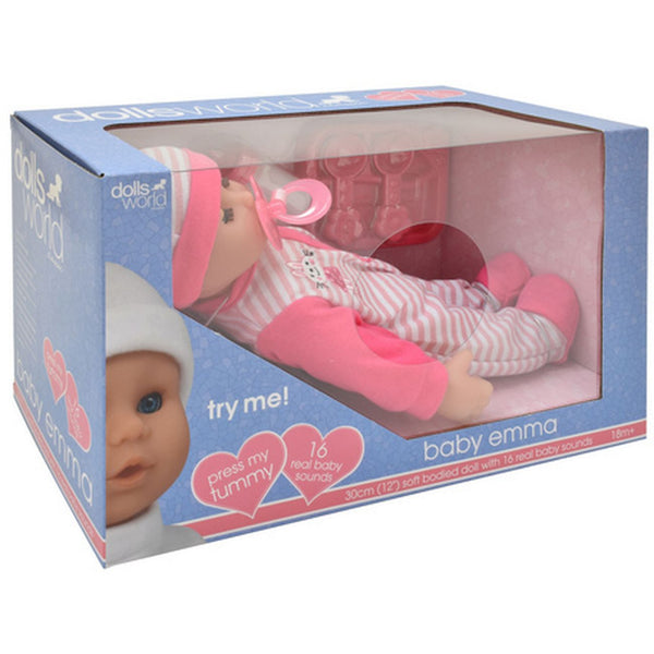 DOLLS WORLD BABY EMMA 30CM SOFT BODIED DOLL