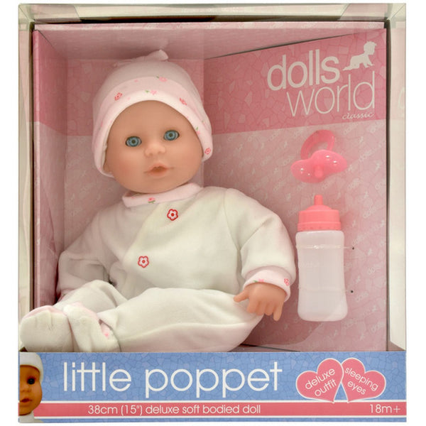 DOLLS WORLD LITTLE POPPET 38CM SOFT BODIED DOLL