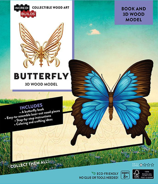 Incredibuilds 3d Wooden Model Butterfly - Toyworld