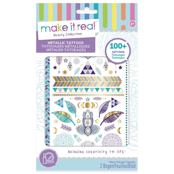 Make It Real Metallic Tattoos Purple - Toyworld