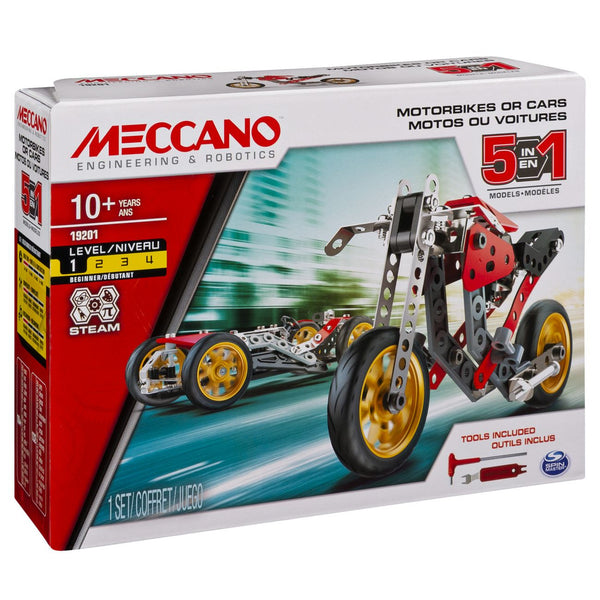 MECCANO 5 MODEL SET MOTORBIKES OR CARS