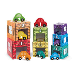 Melissa & Doug Nesting & Sorting Garages & Cars - Toyworld
