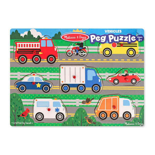 MELISSA & DOUG WOODEN PEG PUZZLE VEHICLES - Toyworld NZ