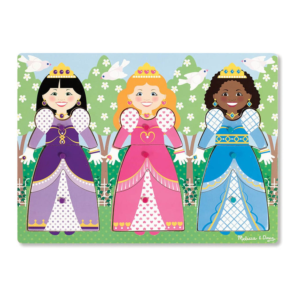 MELISSA & DOUG CLASSIC PEG PUZZLE DRESS-UP PRINCESSES - Toyworld NZ