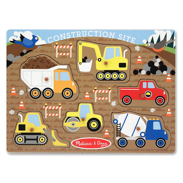 MELISSA & DOUG WOODEN PEG PUZZLE CONSTRUCTION SITE - Toyworld NZ