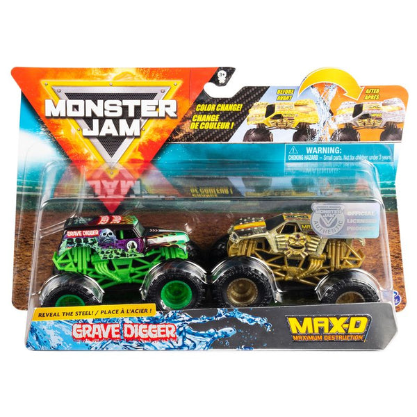 Monster Jam Colour Change 2 Pack Grave Digger & Max D - Toyworld