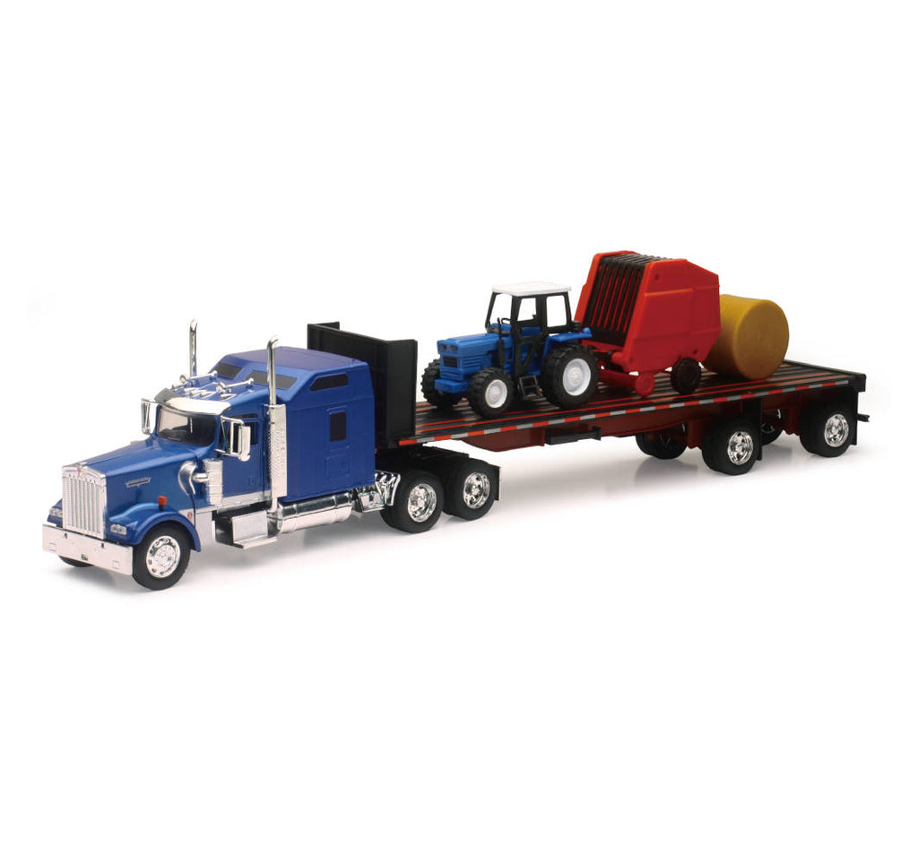 NEWRAY 1:32 LONG HAUL TRUCKER KENWORTH W900 FLATBED WITH TRACTOR & TRAILER