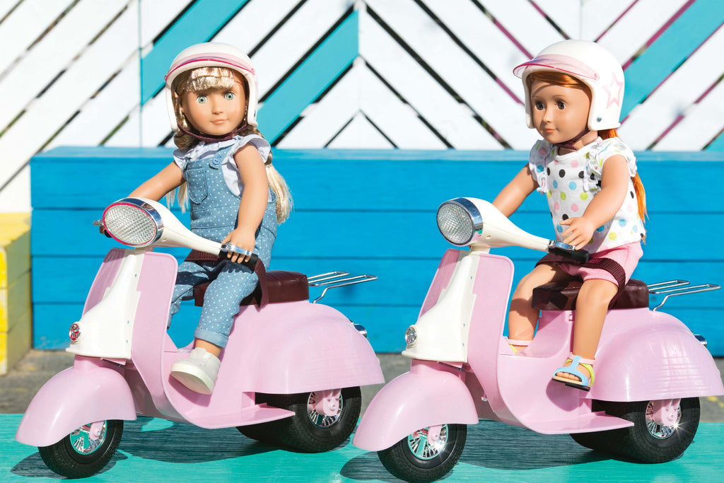 OUR GENERATION PINK & IVORY RIDE IN STYLE SCOOTER