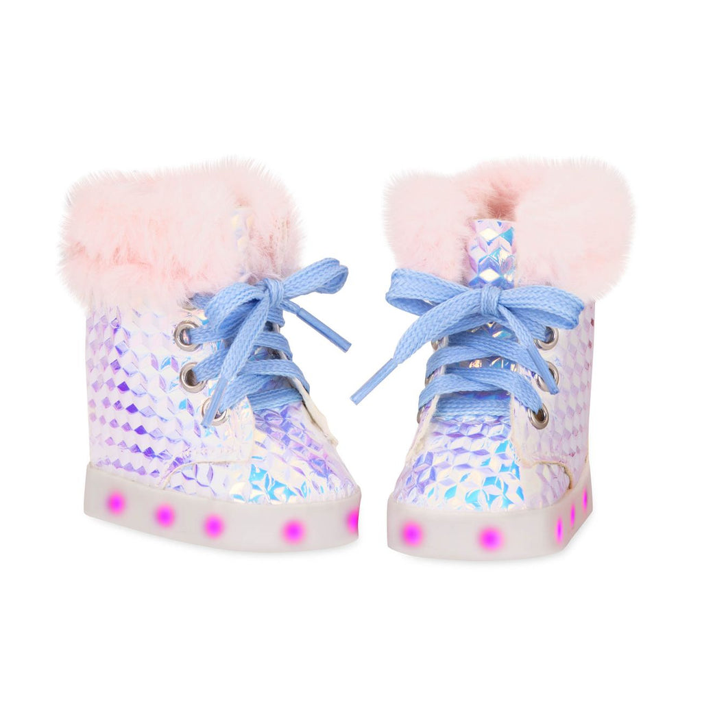 "OUR GENERATION SHINY SHOES FOR 18"" DOLL GLOW FUR IT"