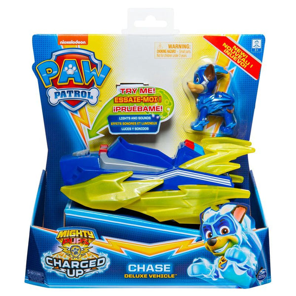 Paw Patrol Mighty Pups Charged Up Themed Vehicle Chase Deluxe Vehicle - Toyworld