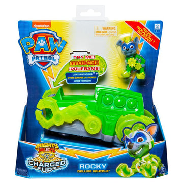 Paw Patrol Mighty Pups Charged Up Themed Vehicle Rocky Deluxe Vehicle - Toyworld