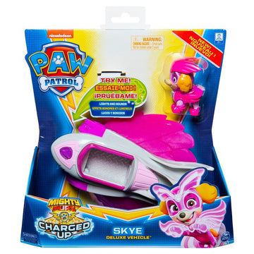 Paw Patrol Mighty Pups Charged Up Themed Vehicle Skye Deluxe Vehicle - Toyworld