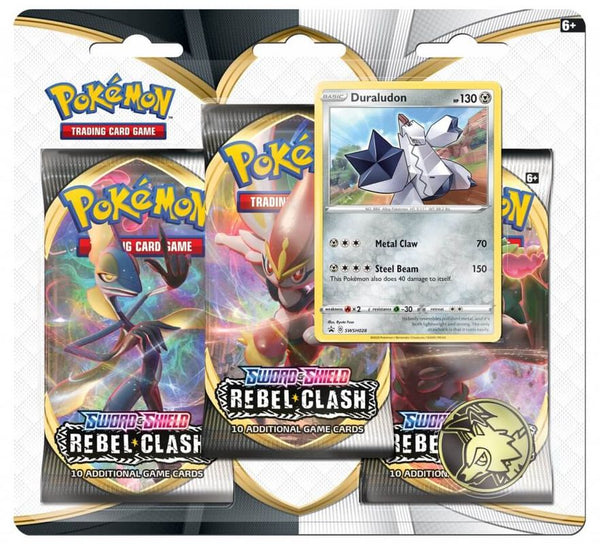 POKEMON TCG SWORD AND SHIELD REBEL CLASH BOOSTER 3 PACK ASST