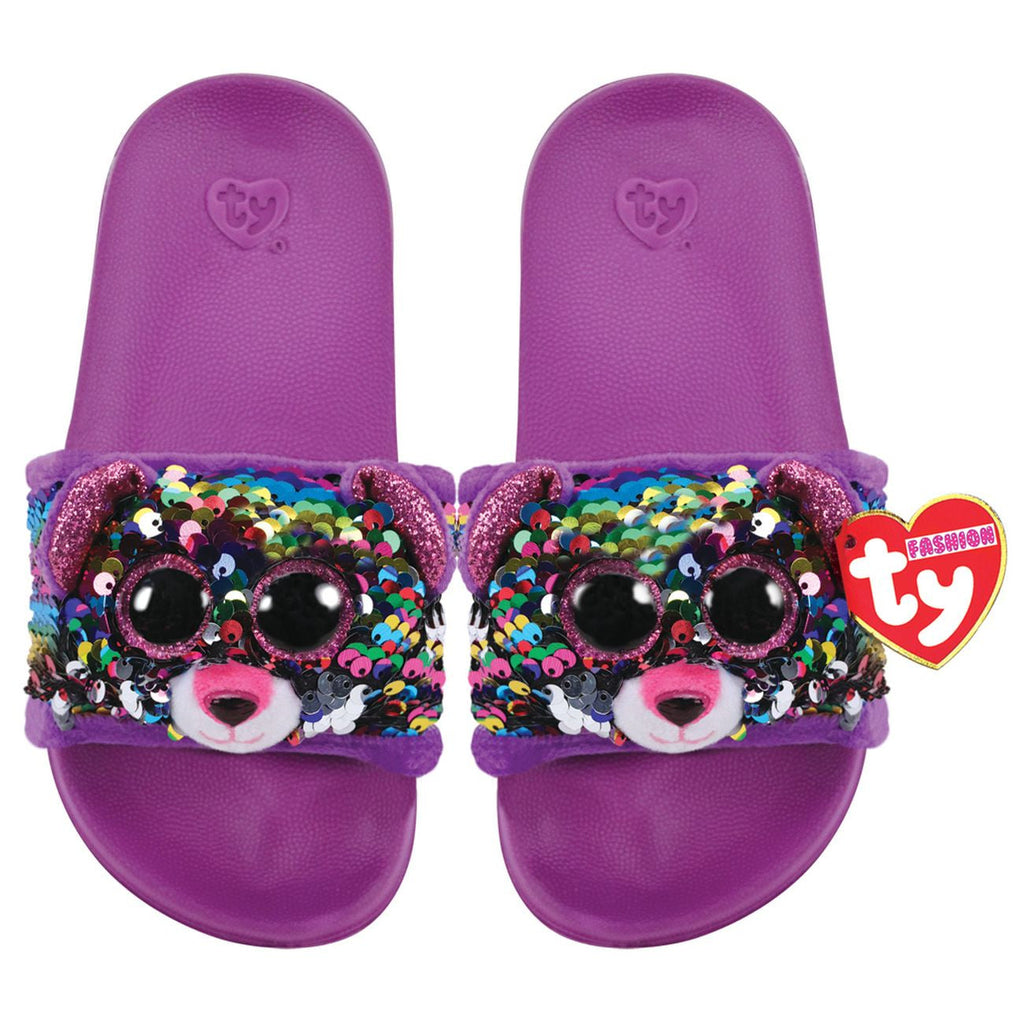 TY FASHION SEQUIN POOL SLIDES M1-3 DOTTY THE MULTICOLOURED LEOPARD