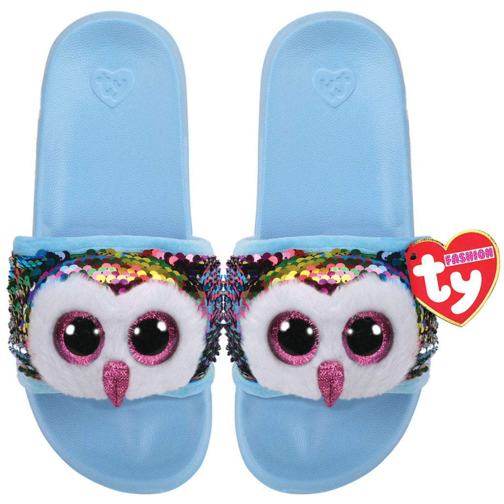 TY FASHION SEQUIN POOL SLIDES M1-3 OWEN THE MULTICOLOURED OWL