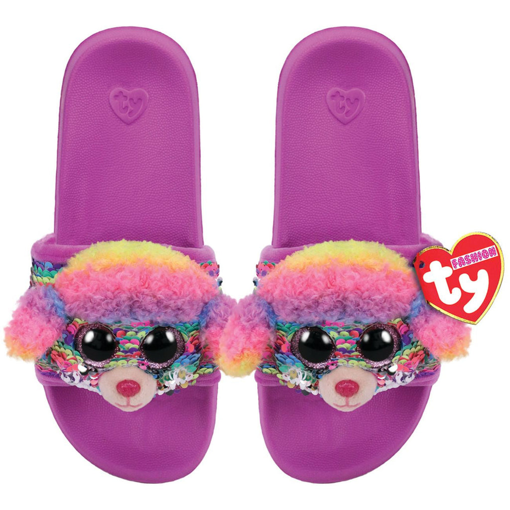TY FASHION SEQUIN POOL SLIDES M1-3 RAINBOW THE MULTICOLOURED POODLE