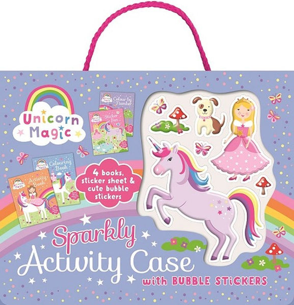 UNICORN MAGIC SPARKLY ACTIVITY CASE WITH BUBBLE STICKERS