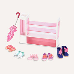 OUR GENERATION DELUXE ACCESSORY SET SORT-A-SHOE SHOE RACK