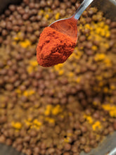 Load image into Gallery viewer, 1/2 tsp of SpiceFix Kashmiri chili powder ready to be added to lentil stew