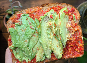 Avocado Toast with paste of Kashmiri Whole Chilies