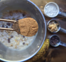 Load image into Gallery viewer, 1/2 teaspoon of SpiceFix cinnamon powder in oatmeal