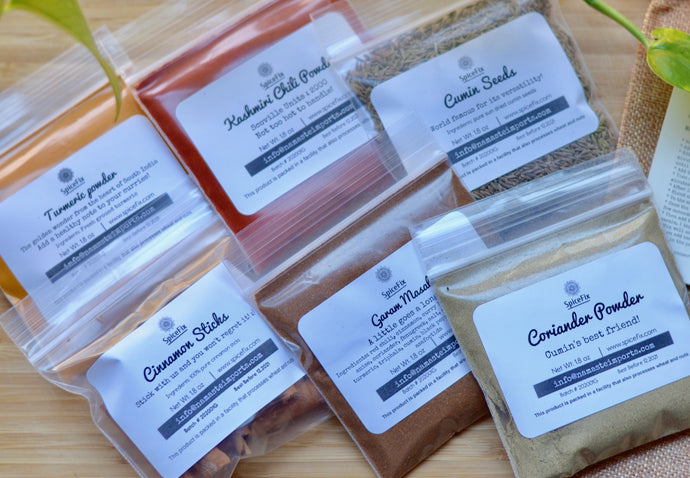 Spicefix gift set with turmeric powder, kashmiri chili powder, cumin seeds, cinnamon sticks, coriander powder, garam masala