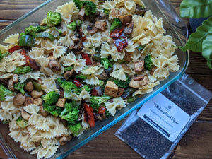 SpiceFix Tellicherry peppercorns featured in pasta with vegetables and tofu