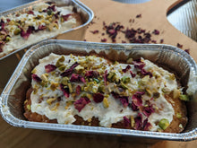 Load image into Gallery viewer, Cardamom / Pistachio cake made with using SpiceFix green cardamom pods, garnished with rose petals