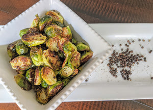 Delicious brussel sprouts made with SpiceFix Tellicherry black peppercorns