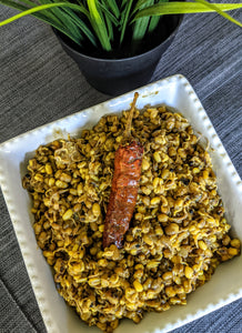 Sprouted mung beans made with SpiceFix Kashmiri Whole Chilies and Coriander-Cumin Powder Blend