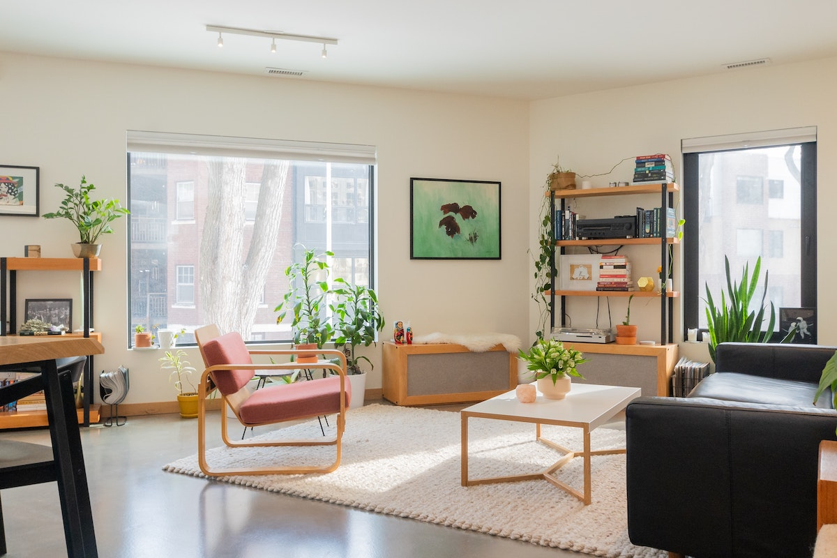 living room prepared by professional home stager