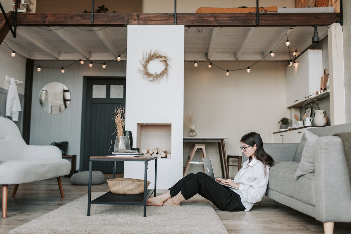 woman in trendy apartment living room