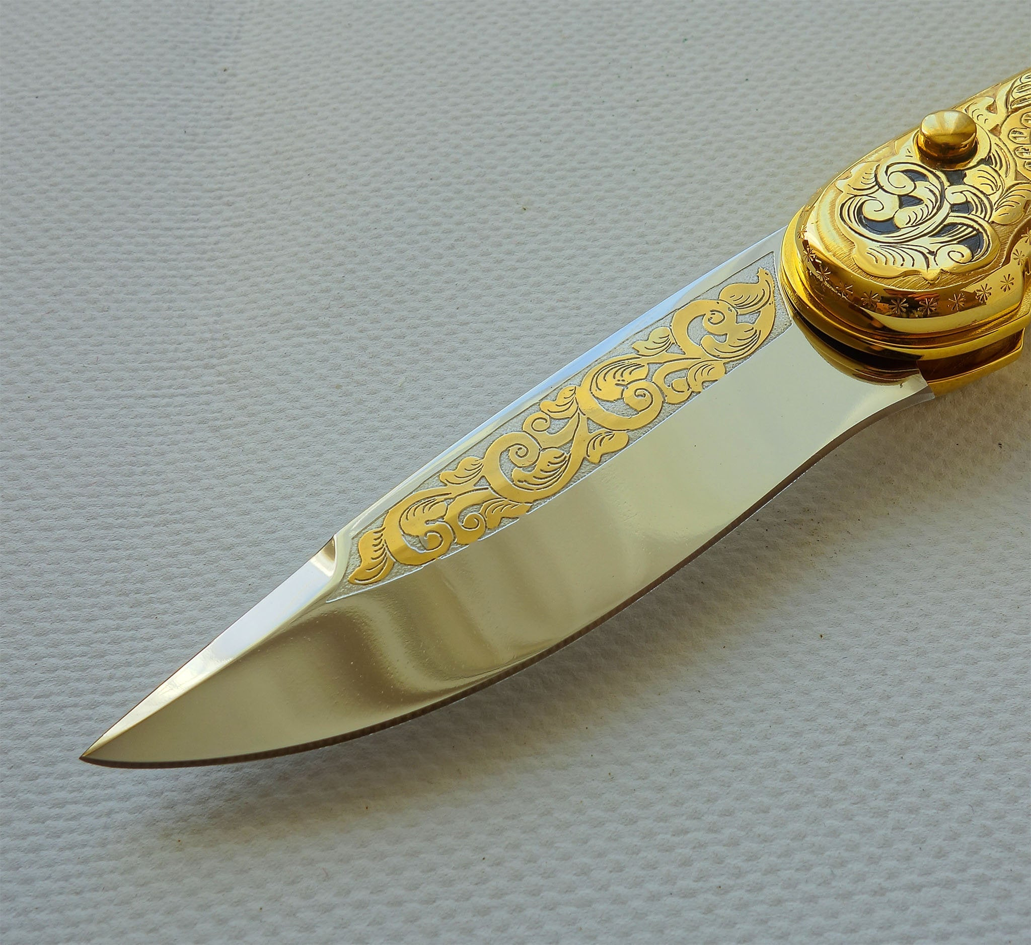 Gold knife Tiger, 40th anniversary gift for father in law, custom gift ideas, 40th birthday gift for coworker, retirement gift for boss